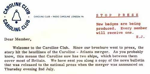 Caroline Club welcome letter