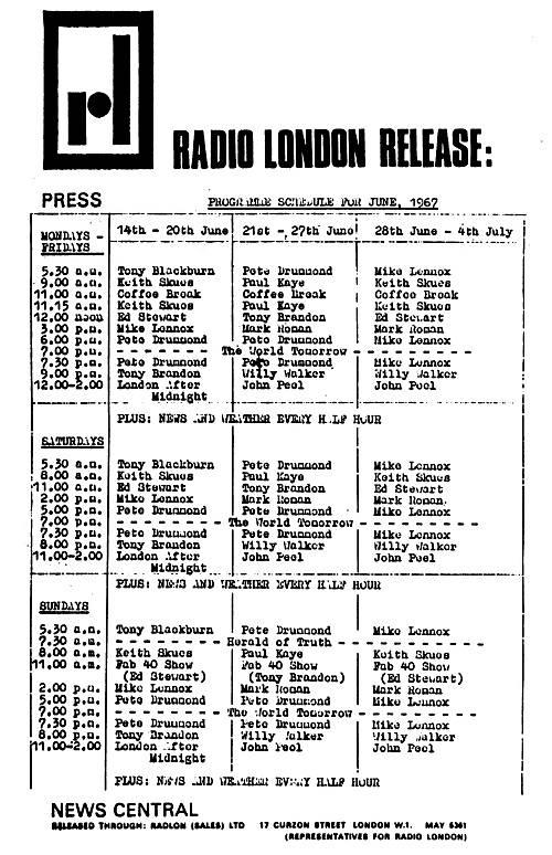 Radio London programme schedule