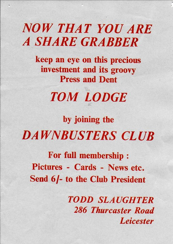 Tom Lodge fan club mail-out