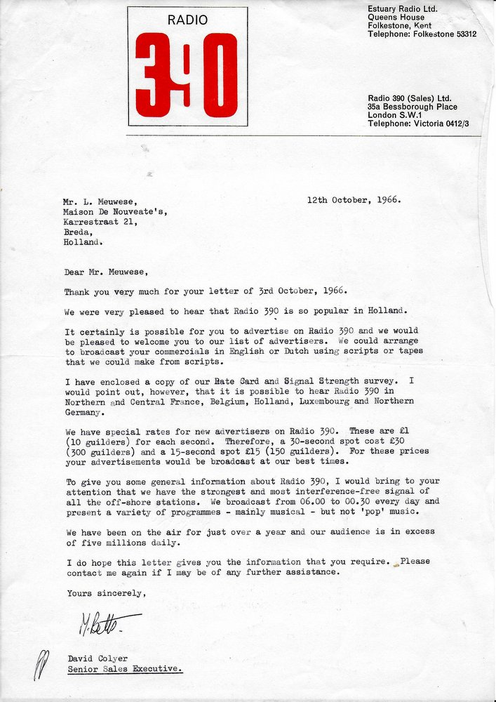 letter from Radio 390