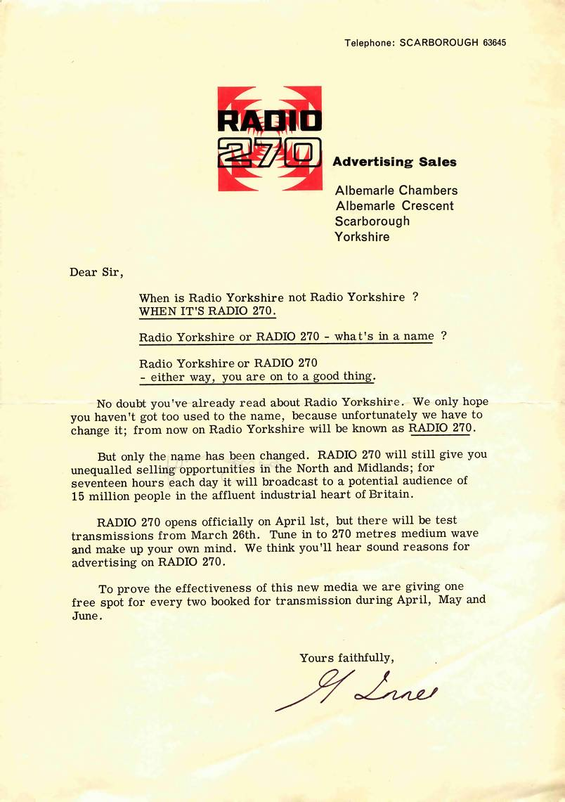 letter to potential advertisers