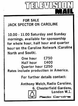 press advert for Jack Spector sponsors
