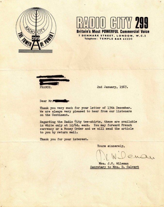 letter from Radio City